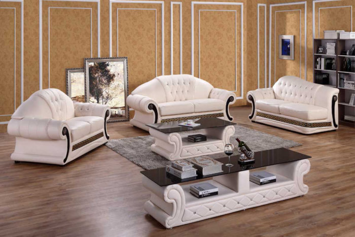 white leather luxury couch set