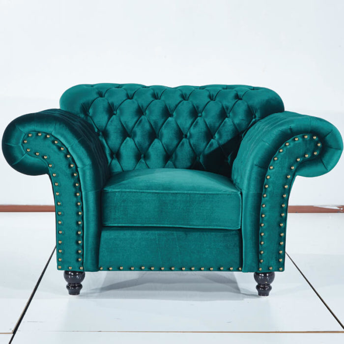one seater green chesterfield accent chair