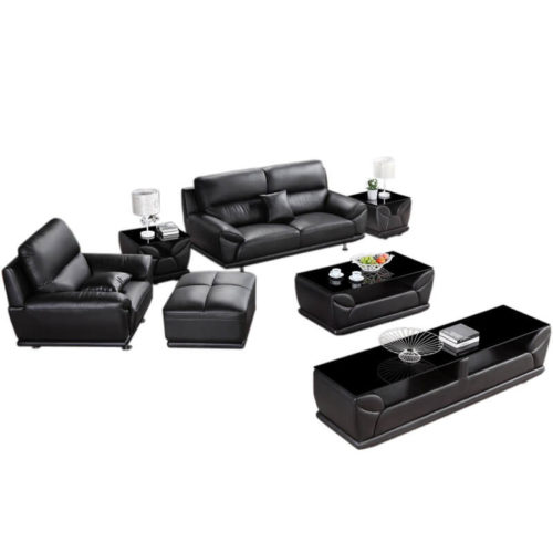 leather sofa set 321 with ottoman