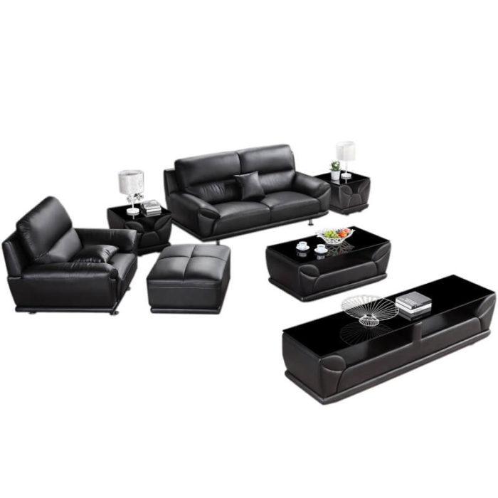 leather sofa set 321 with ottoman