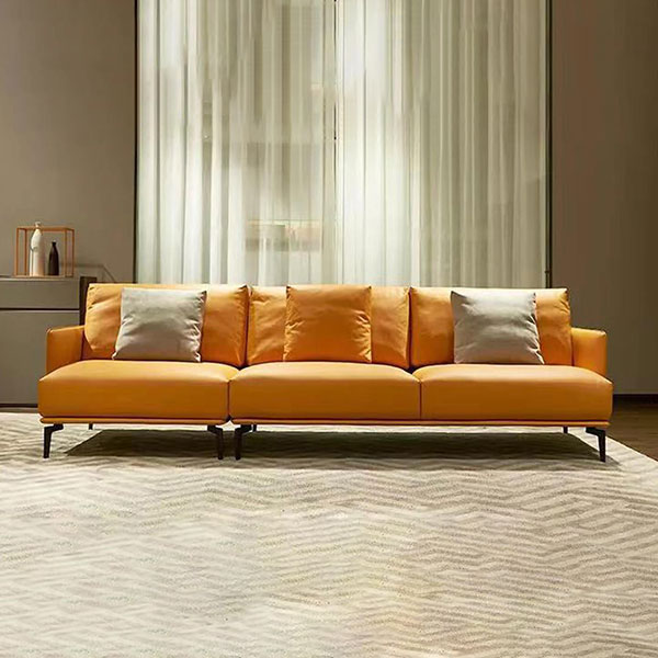 modern 3 seater tan leather couch