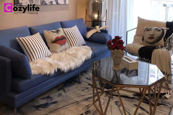 3 seater blue leather apartment sofa