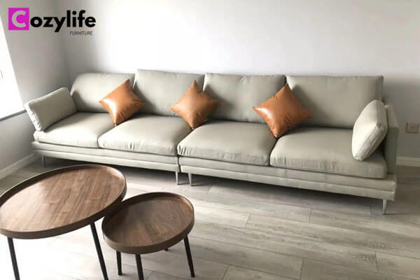 comfortable 4 seater grey leather sofa