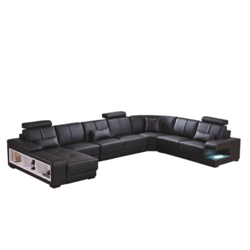 U shaped black leather sectional couch