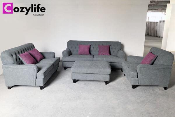 Chesterfield fabric sofa set with ottoman