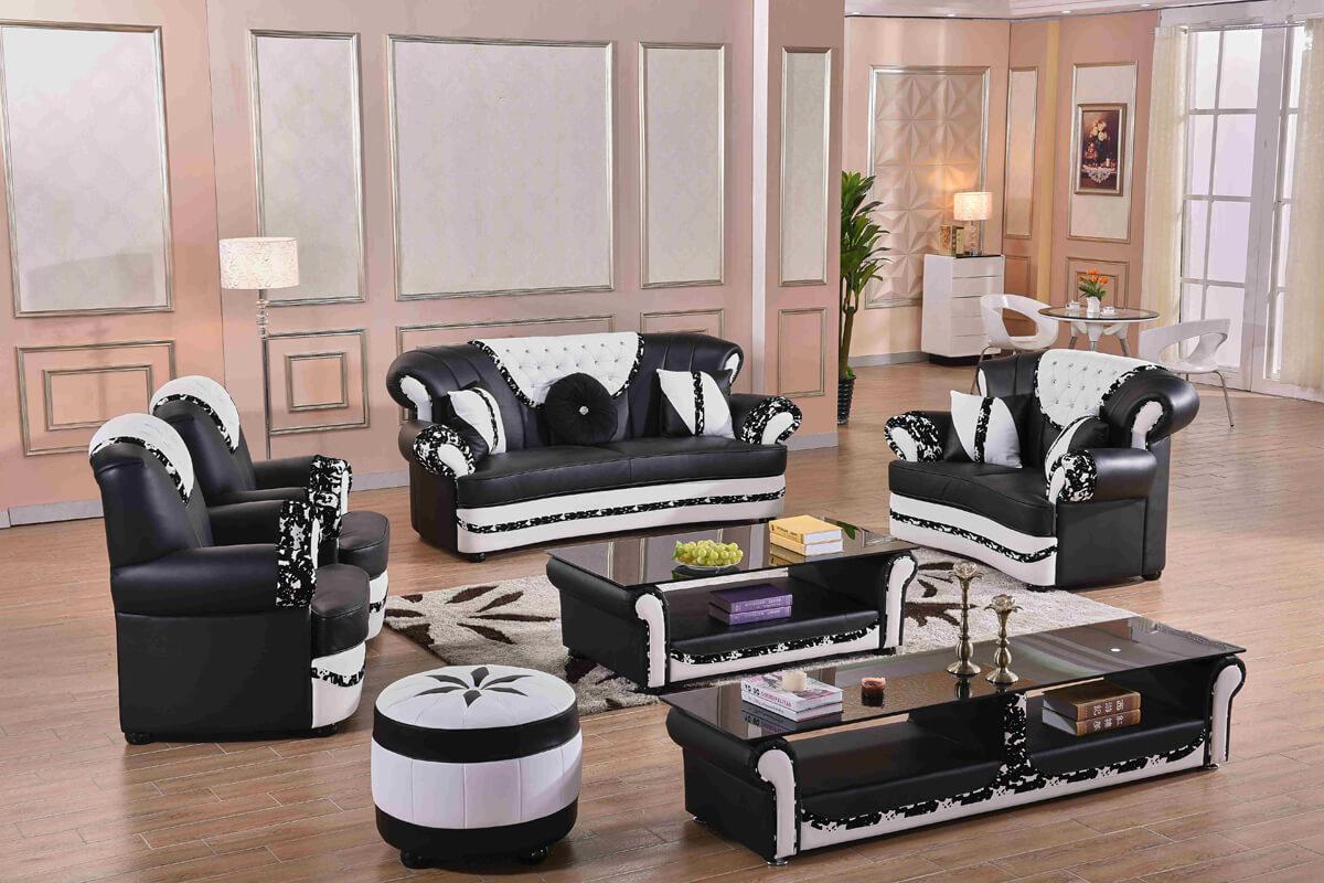 7 seater black tufted sofa set