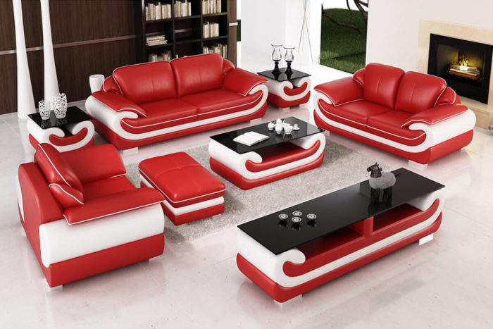 red leather couch set