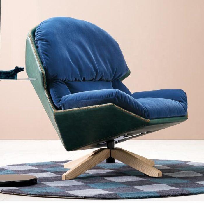 Gem Blue modern velvet armchair