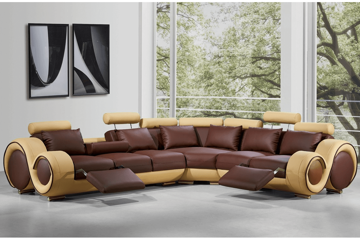 brown reclining sectional