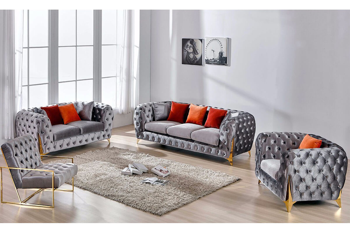 Home Furniture Button Tufted grey Sofa Set