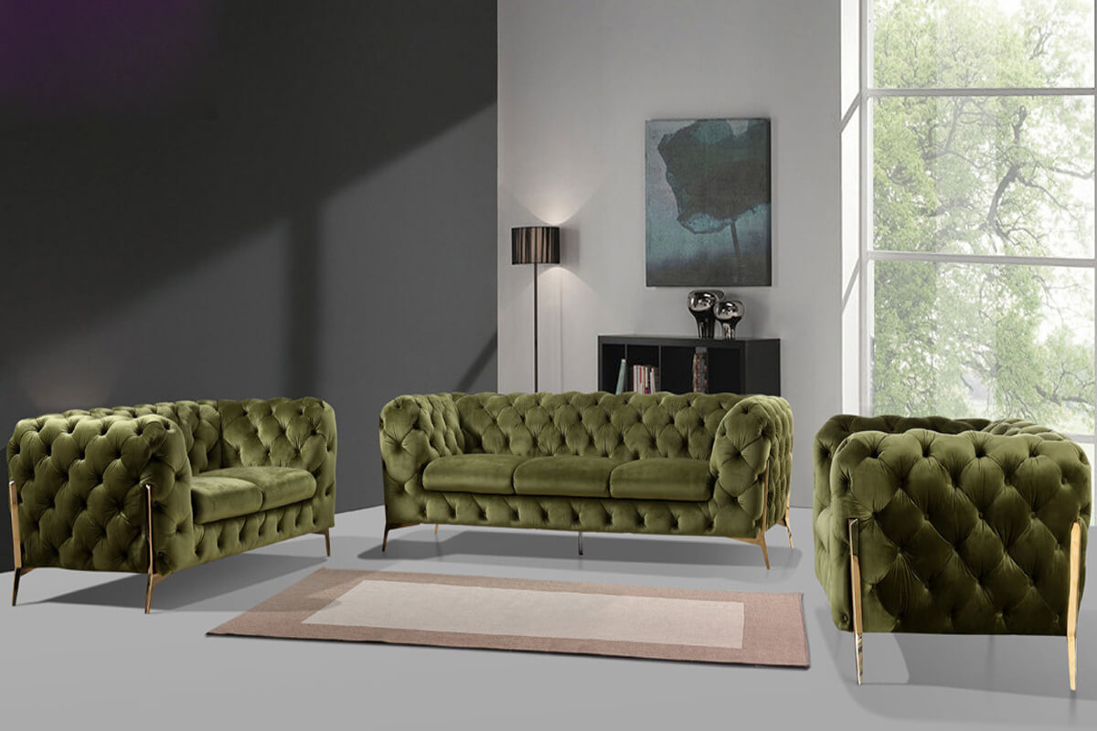 Italian Modern Emerald green Chesterfield Sofa
