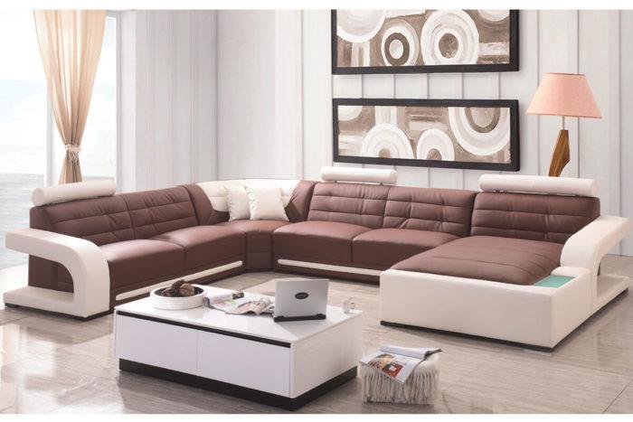 Italian design extra Large Size U-shaped genuine leather corner Sofa