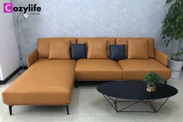 L shaped leather settee