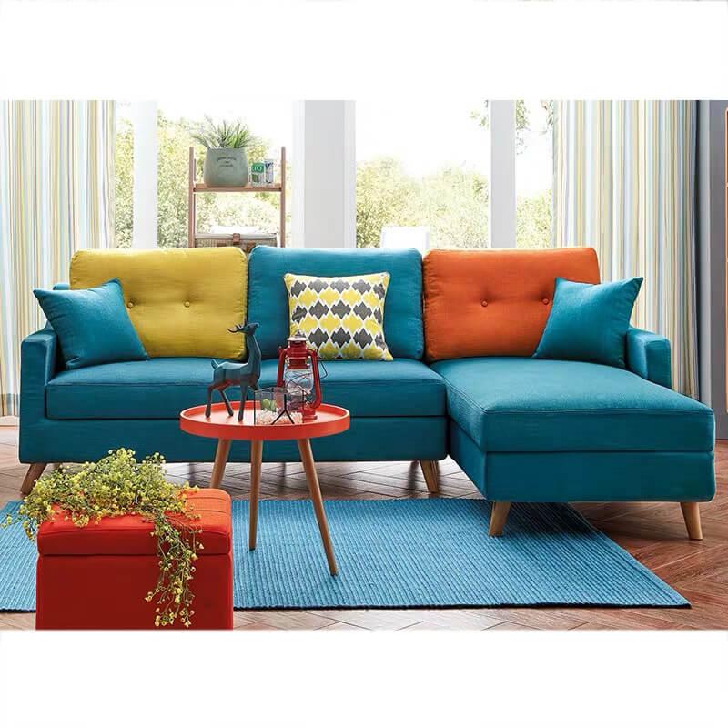L shaped blue fabric sofa bed