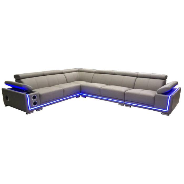 grey L-shaped long corner sofa