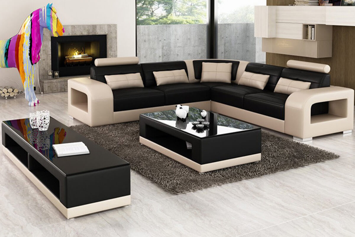 L shaped modular leather sofa sectional