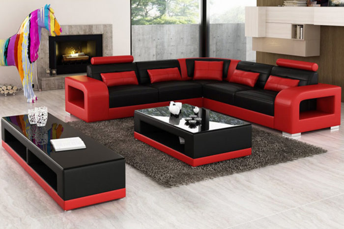 5 seater red corner sofa