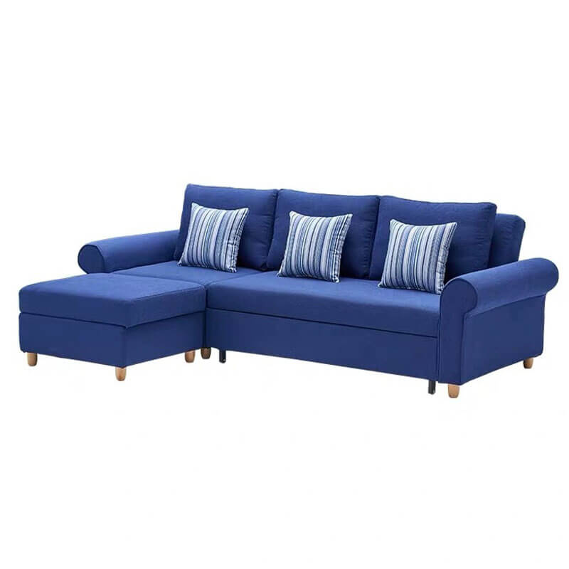 L shaped corner couch bed in blue