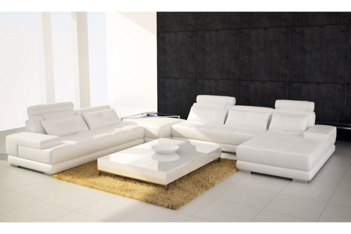 white Leather Chaise Sectional Sofa