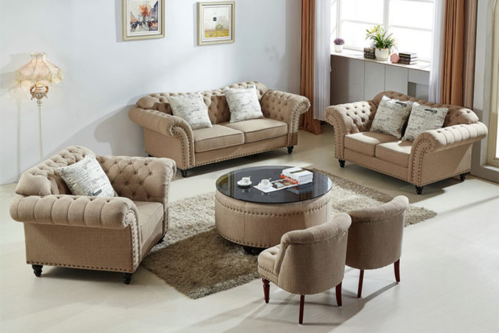 fabric chesterfield sofa table with stools