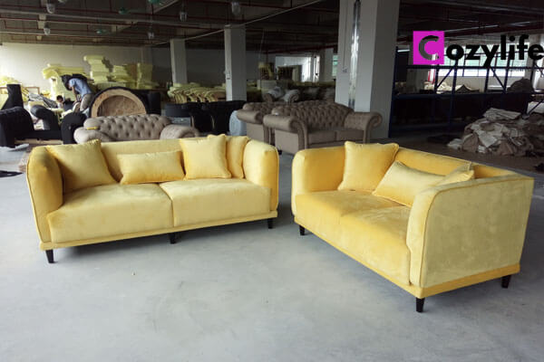 2 piece yellow couch fabric