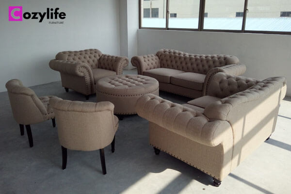 modern fabric tufted couch and loveseat set