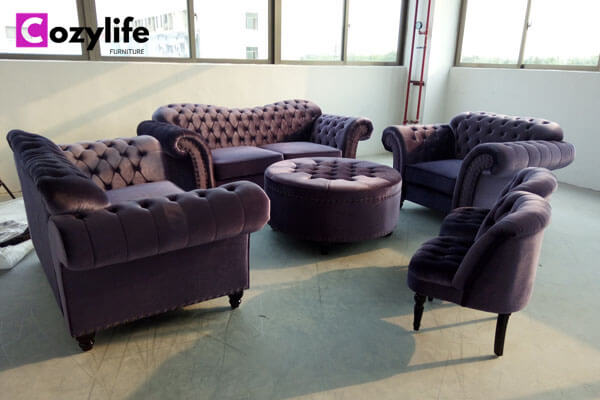 5 piece purple sofa tufted sofa set with footstool