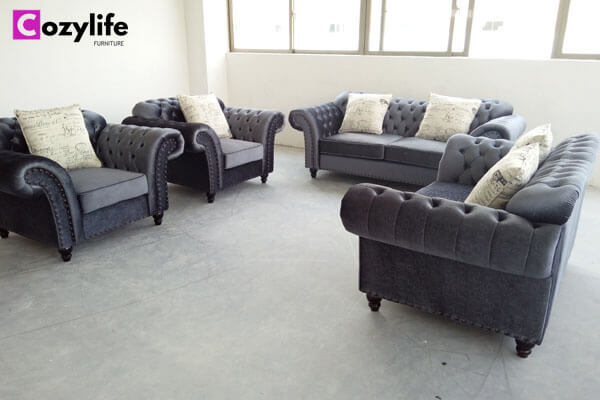 grey tufted fabric couch set