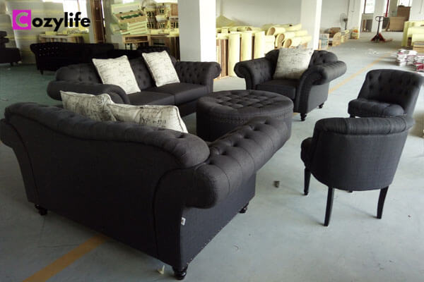 black chesterfield sofa and chair set