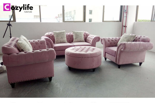 pink chesterfield sofa set with ottoman