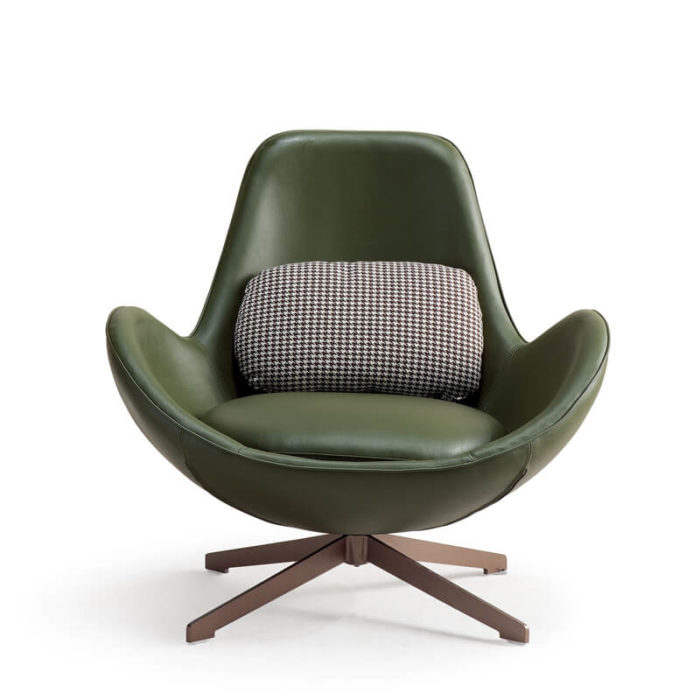 Olive leather egg shaped swivel chair