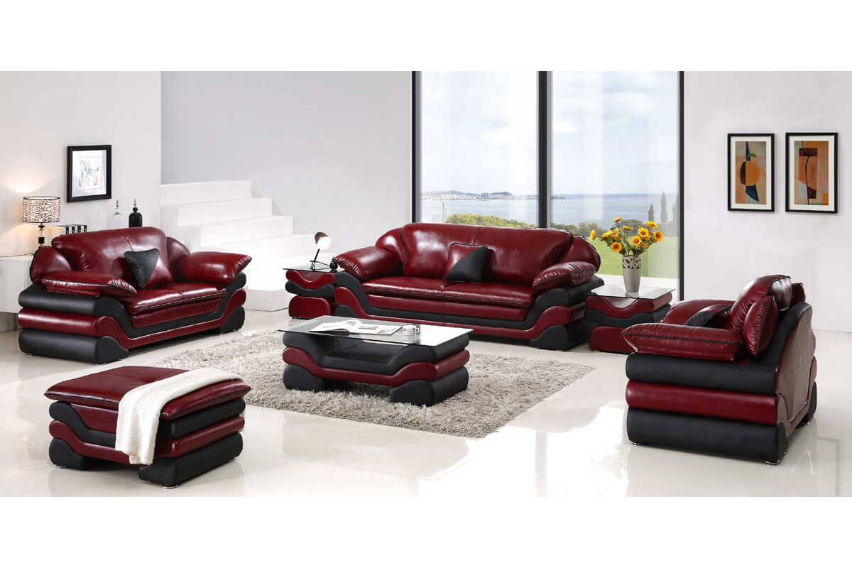 contemporary red couch set