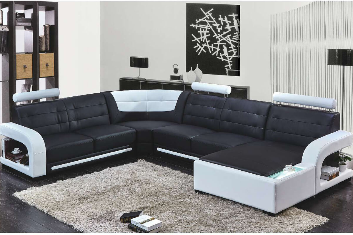 Top grain leather chaise sectional sofa