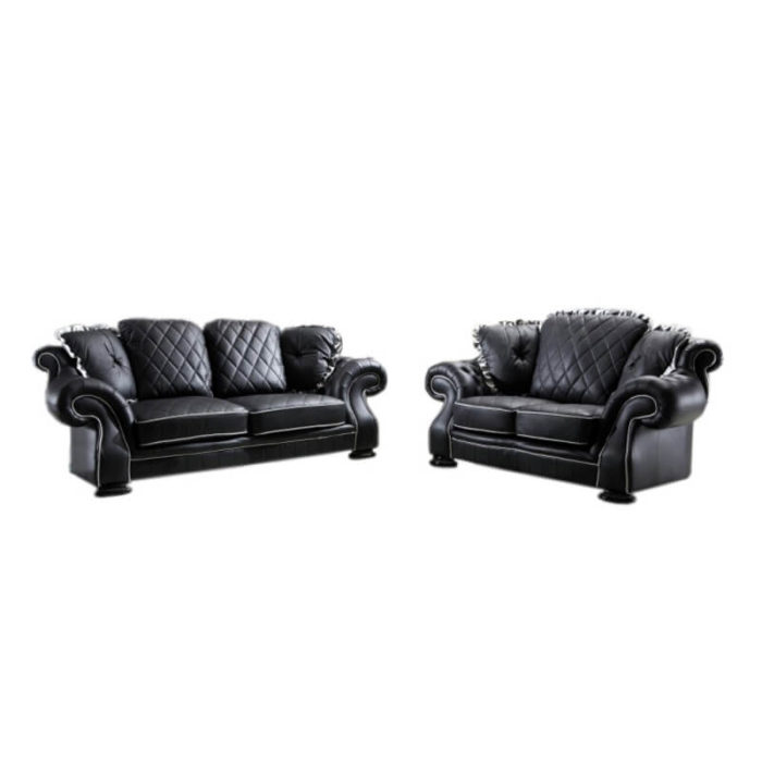 chesterfield leather sofa set