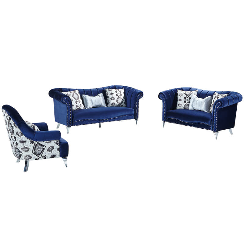 blue velvet curved sofa set