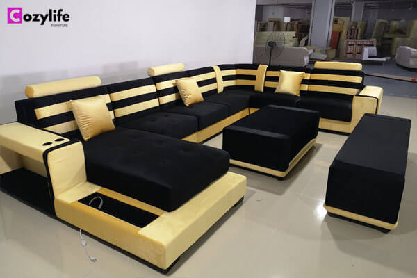 U shaped sectional fabric sofa