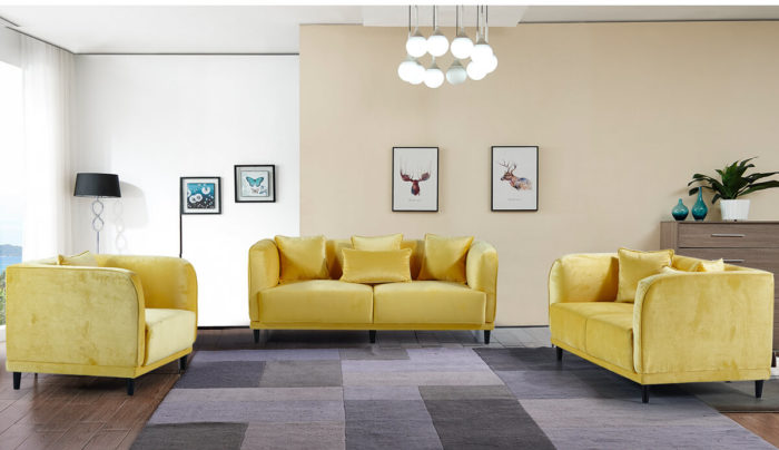 Upholstered modern yellow couch set