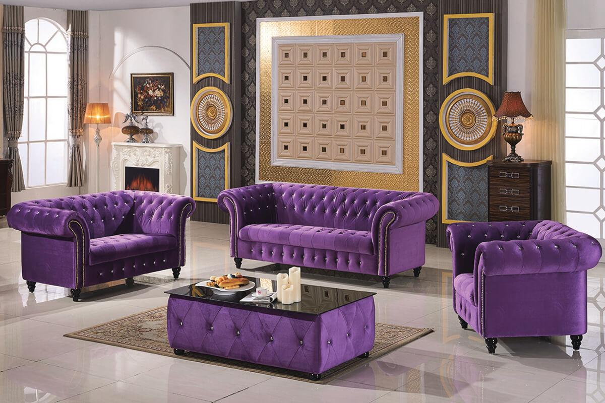purple Velvet fabric chesterfield