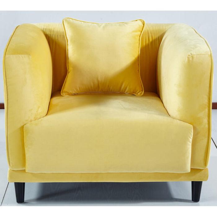 Velvet one seater sofa