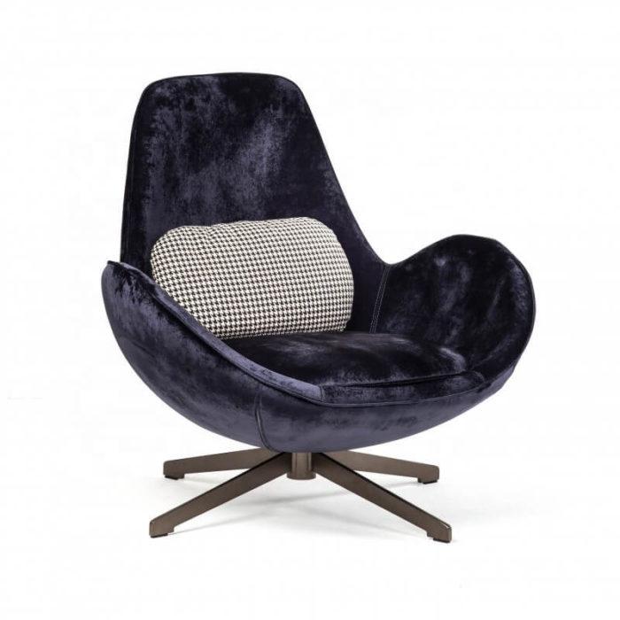 Violet blue velvet swivel armchair