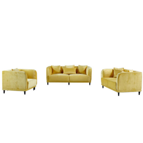 yellow velvet sofa set
