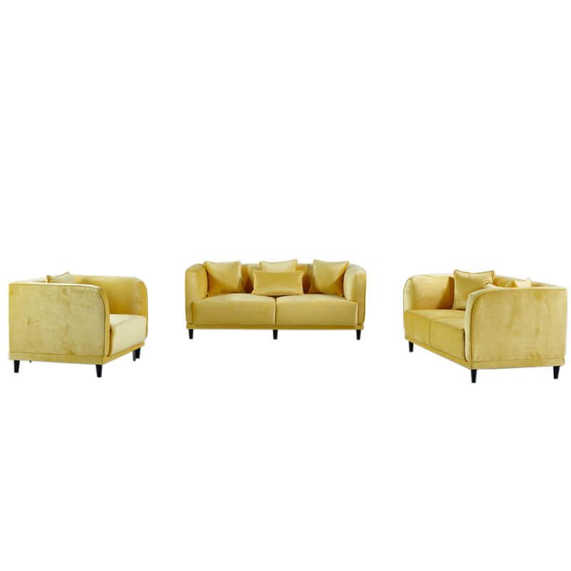 yellow velvet sofa set