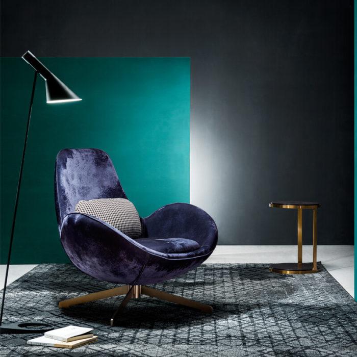 modern eggshape blue velvet swivel lounge chair