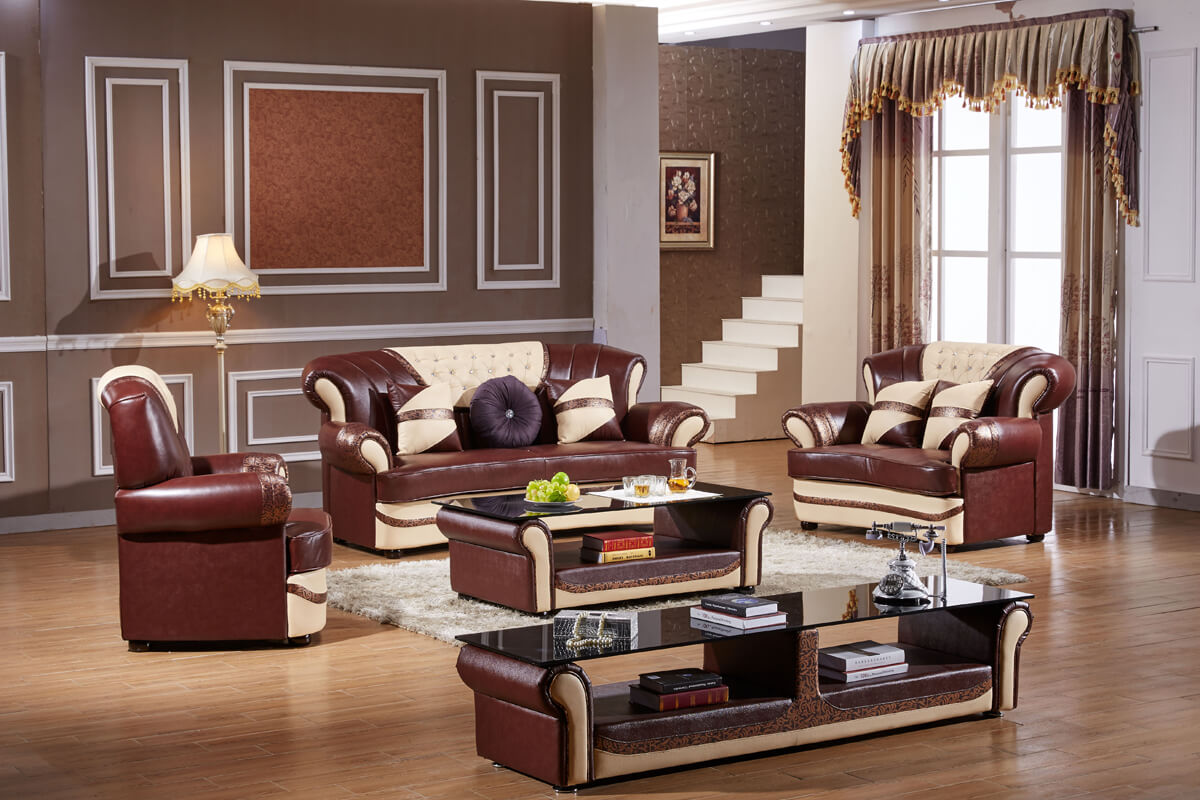 traditional brown sofa set with tables