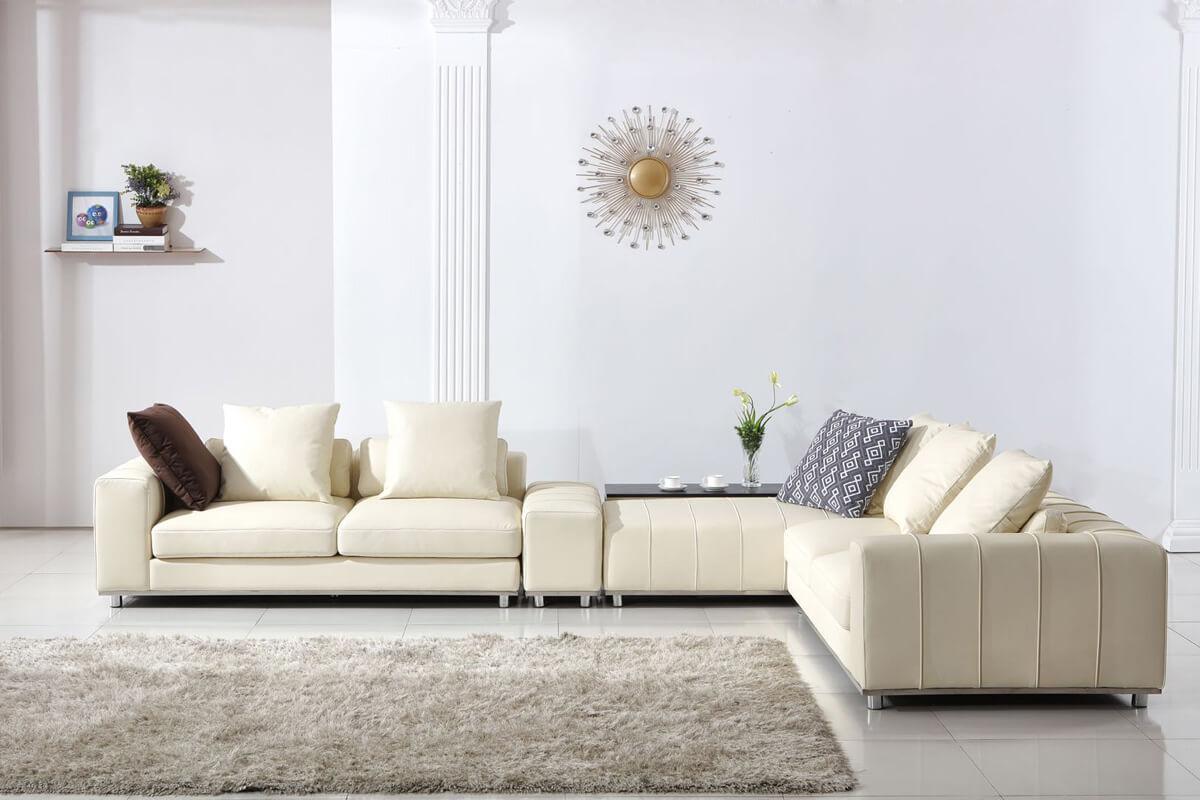 beige color corner eather sofa