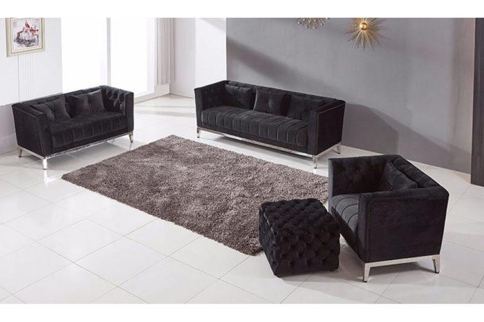 black chesterfield Velvet Sofa