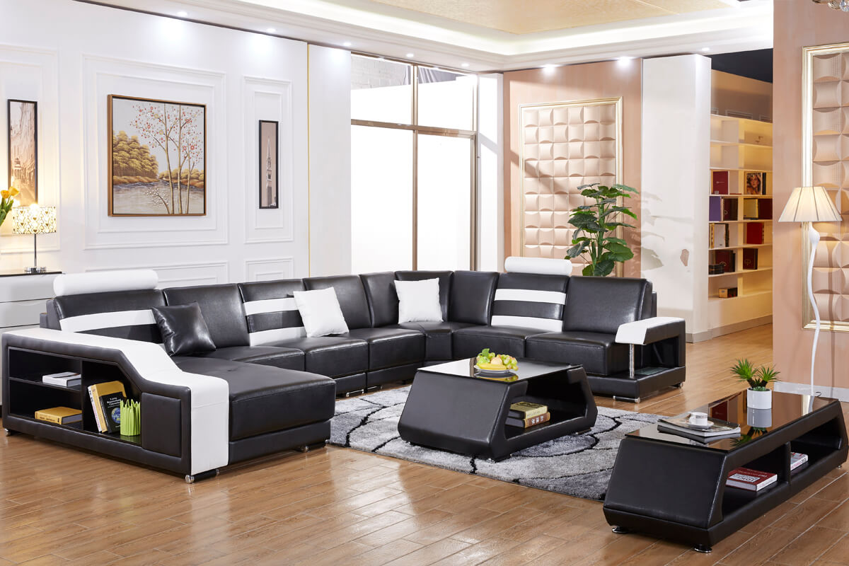 black leather modern sectional sofa set with left facing chasie