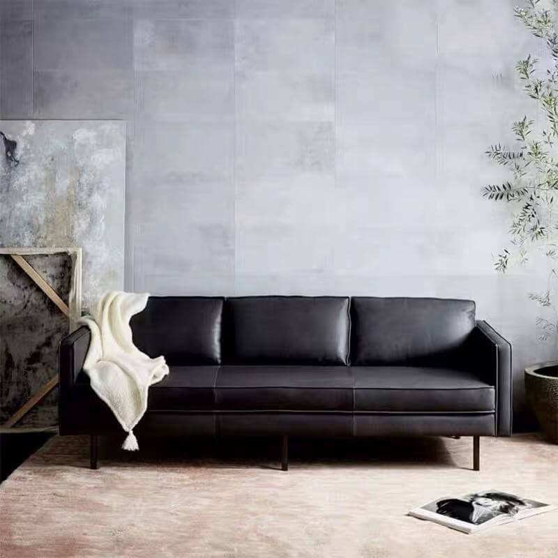 black tan leather sofa