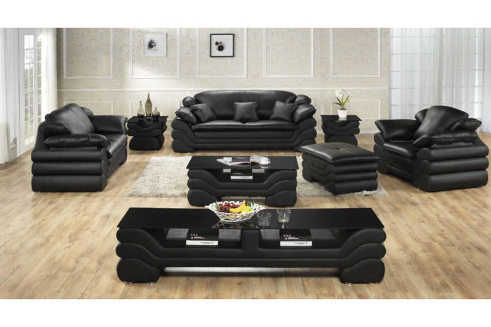 black leather sofa and chair set