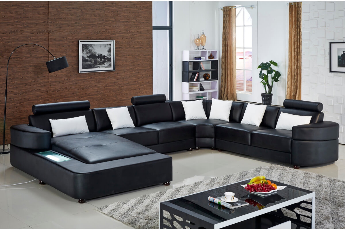 large black sectional leather sofa with chaise